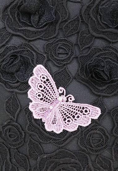 レース蝶、花のアップ