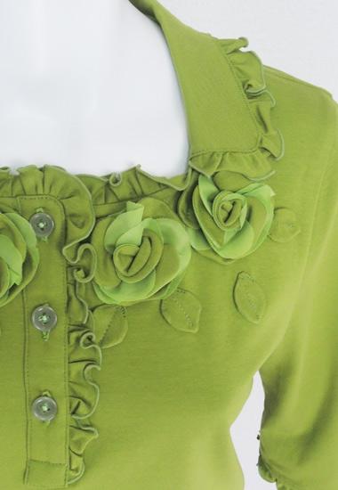 お花、衿、フリルのアップ
